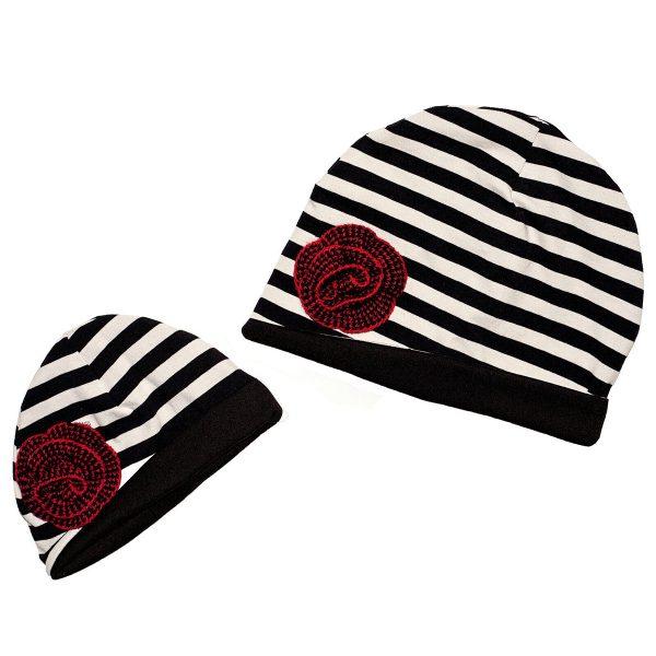 cappello bambina mamma e figlia a righe nere con rosa in lana
