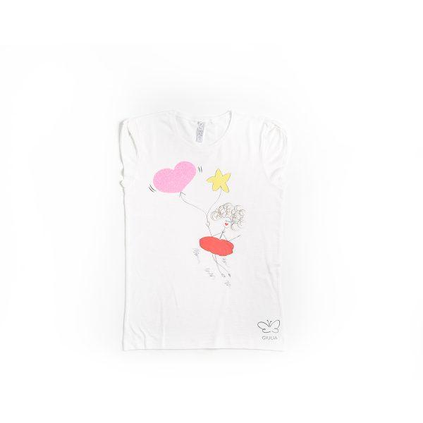 maglietta in cotone minime mamma e figlia miss cuore