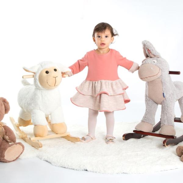abito in maglia di cotone rosa da bambina