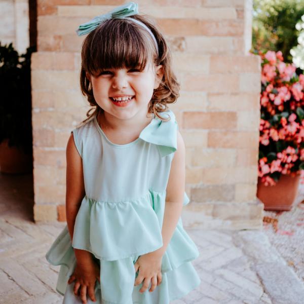 Indossato abito da cerimonia bambina Beatrice verde