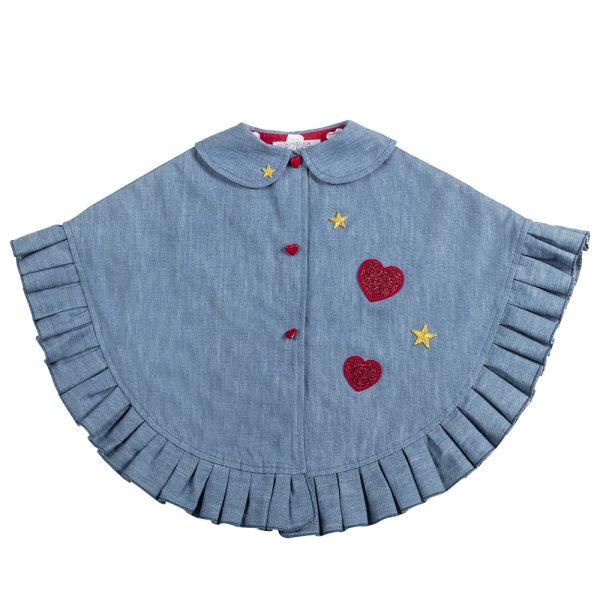 mantellina in jeans e cuori da bambina fino a 5 anni