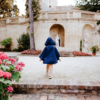 Mantellina impermeabile blu da bambina
