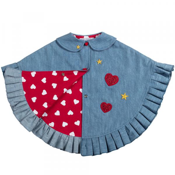 mantellina in jeans con cuori da bambina