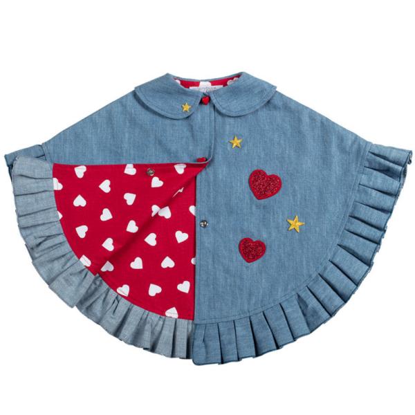 mantellina in jeans Love con patch paillette da bambina
