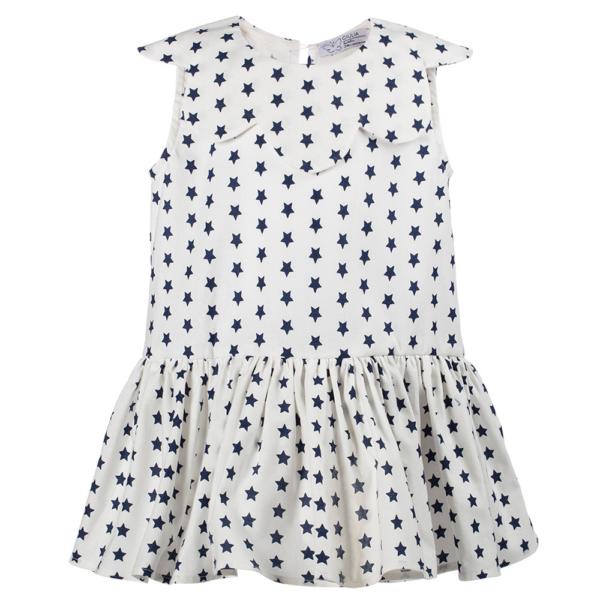vestito da bambina Aurora a stelle blu inn cotone