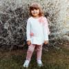 completo da bambina in felpa maglia e pantaloni con fiori