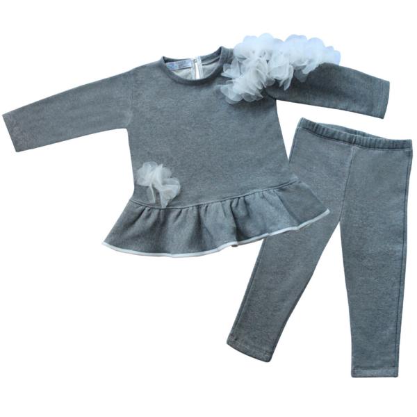 completo da bambina grigio in felpa con fiori n organza bianchi