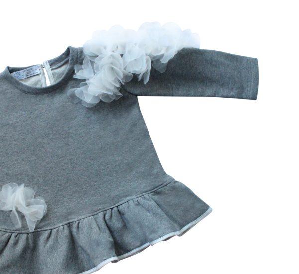 dettaglio manica maglia in felpa grigia da bambina