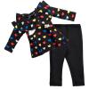 completo maglia e pantalone da bambina a cuori colorati