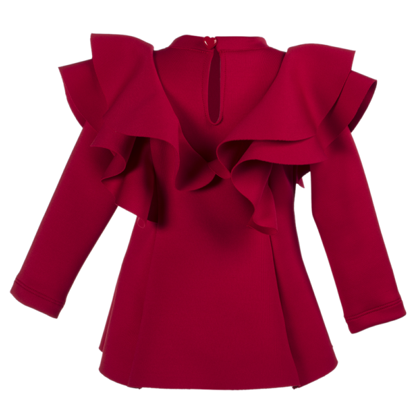 maglia a maniche lunghe da bambina rosso