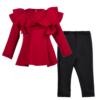 completo neoprene da bambina rosso e nero maglia volume