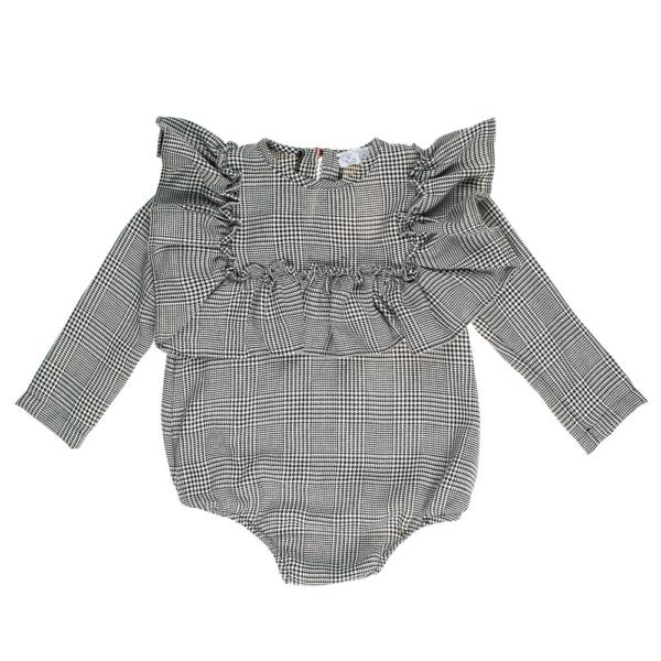 camicetta body da bambina tessuto principe di galle