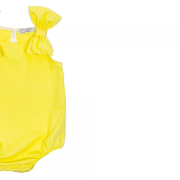 dettaglio fiocco body Ioris giallo in cotone da bambina
