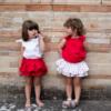 Body rosso da bambina in cotone