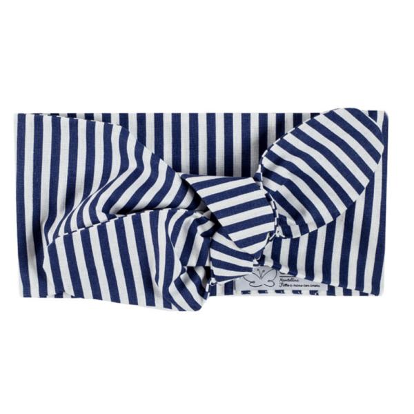 fascia a righe azzurre per capelli in cotone da bambina