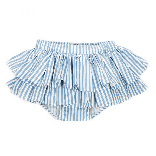 gonna da bambina Amelia in cotone a righe azzurre