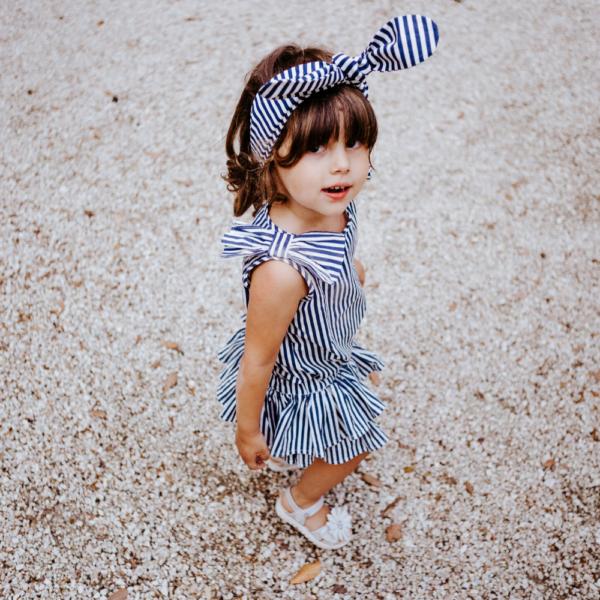 fascia linda a righe blu in cotone