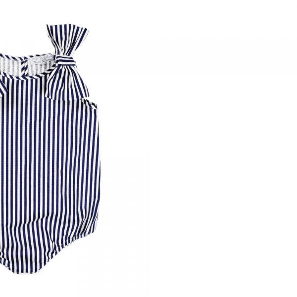 pagliaccetto Ioris a righe blu in cotone da bambina