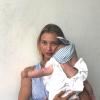 fascia Linda per bambina a righe azzurre