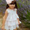 abito da cerimonia bambina in cotone rosa