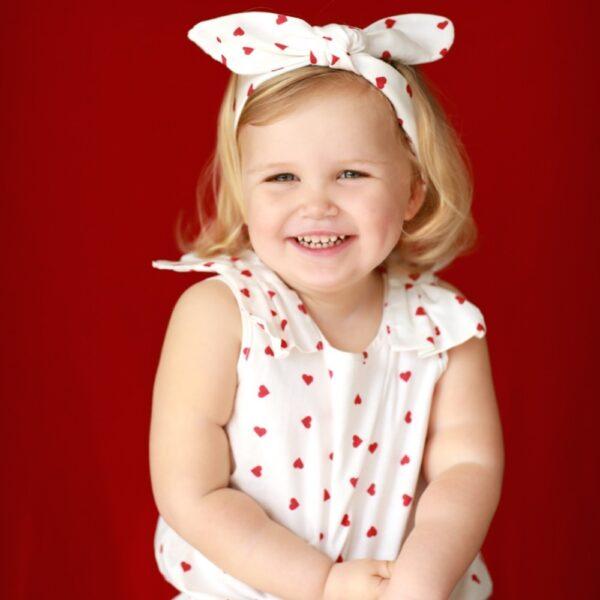 fascia e body a cuori in cotone da bambina