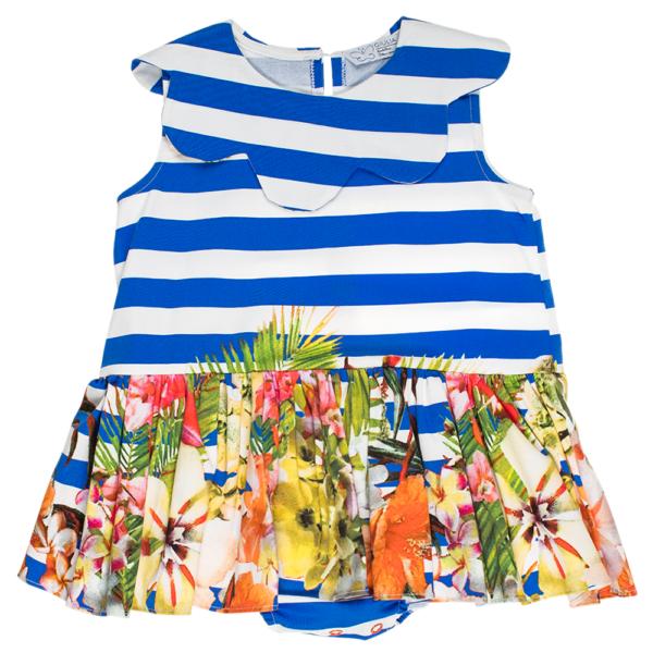 abito da bambina Aurora in cotone a righe e fiori