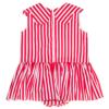dettaglio abito Aurora da bambina in cotone a righe rosse