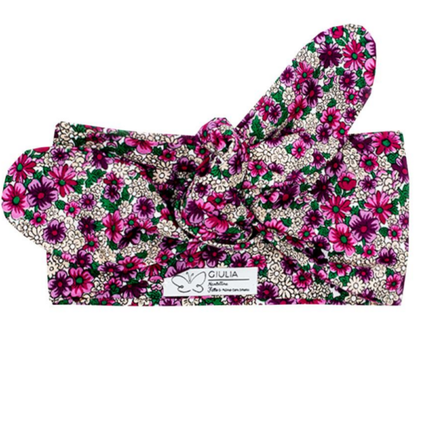 fascia per capelli pin up in cotone a fiori fuxia