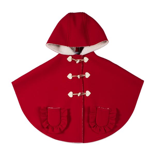Mantellina cappuccetto rosso in ecopelliccia di agnellino