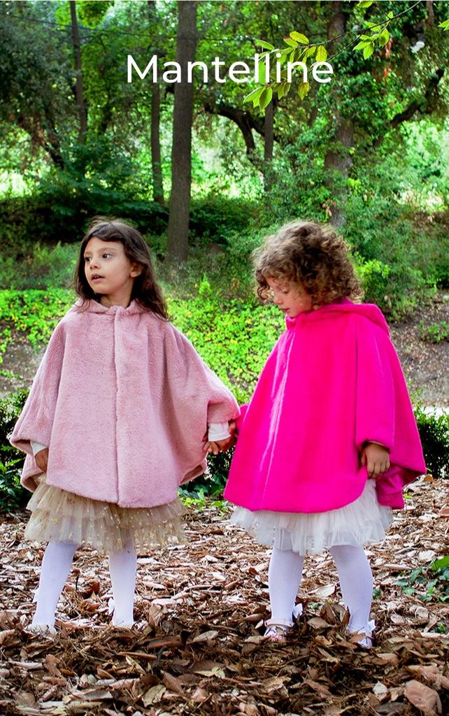 mantellina pelliccetta da bambina rosa e fuxia