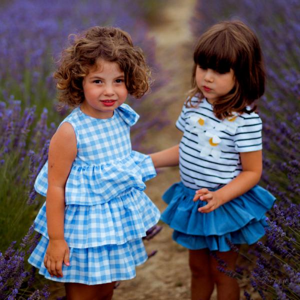 vestito da bambina per cerimonia in cotone bianco e azzurro