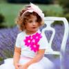 maglia Alice con fiori lampone in cotone da bambina