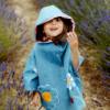mantellina in jeans da bambina con applicazioni ricamate