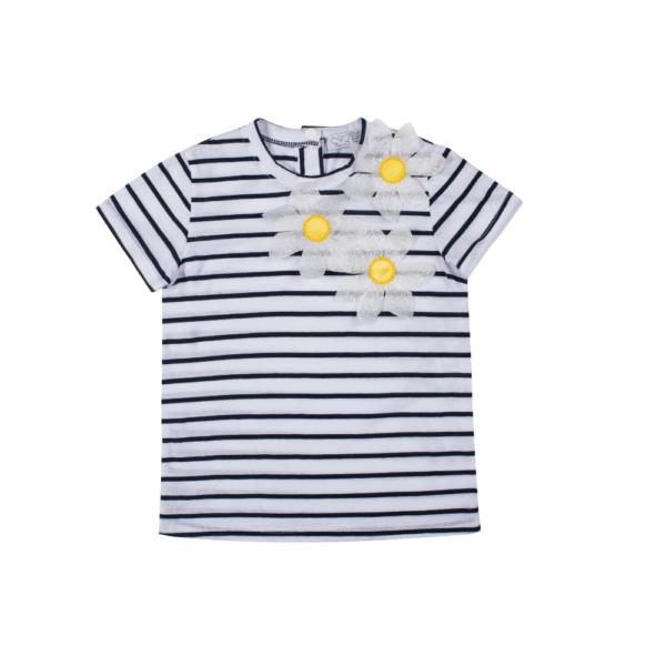 maglietta manica corta Alice in cotone a righe da bambina con fiori