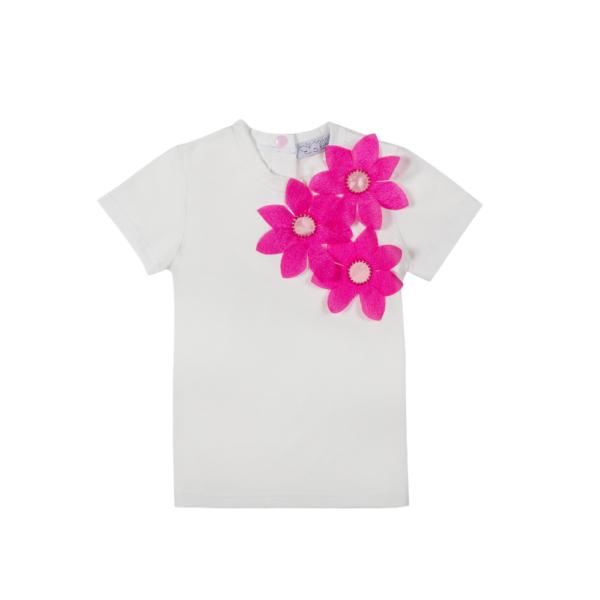 maglietta Alice in cotone con maniche corte e fiori in organza fuxia