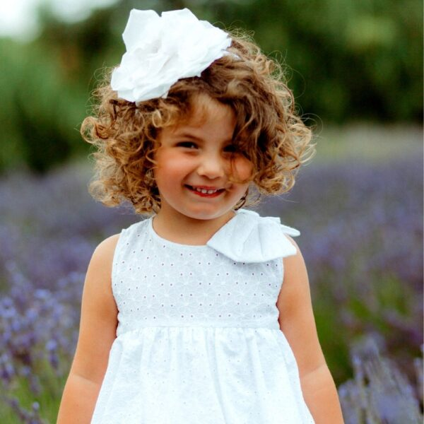 cerchietto per capelli in raso e organza da bambina