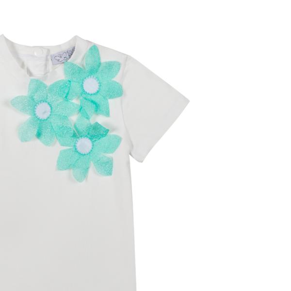 dettaglio fiori tiffany maglia Alice in cotone da bambina
