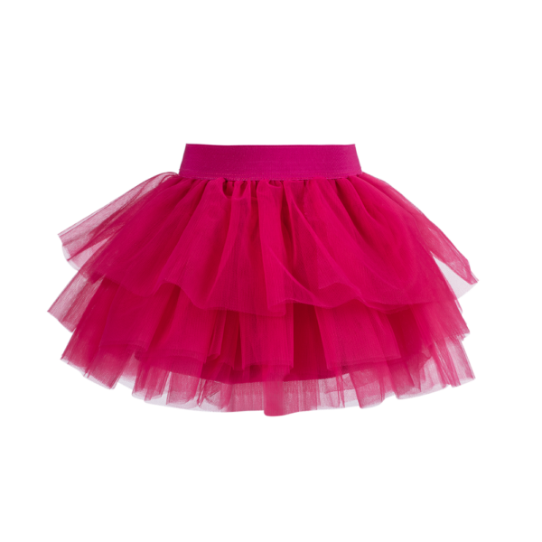 gonna Sofi in tulle seta elegante da bambina color lampone