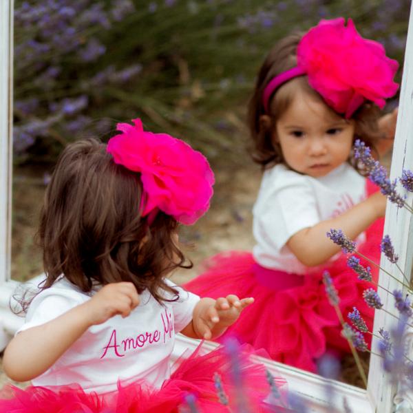 cerchietto lampone da bambina con rosa in organza e seta Giulia Mantelline