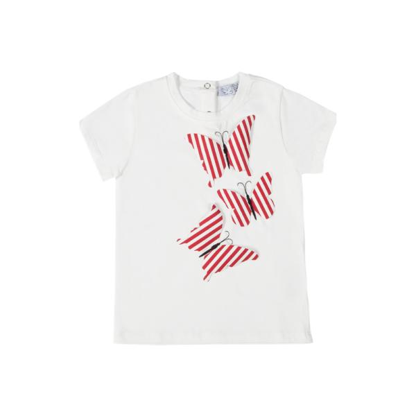 maglietta Alice a manica corta in cotone con farfalle a righe rosse Giulia Mantelline