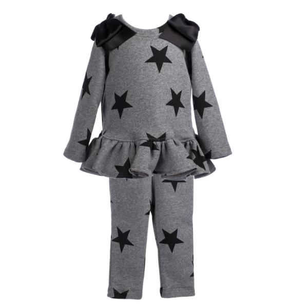 completo maglia e pantalone grigio a stelle nero con fiocchi in raso da bambina Giulia Mantelline