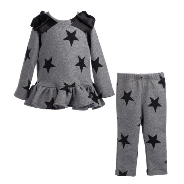 completo da bambina maglia e pantalone a stelle in felpa Giulia Mantelline