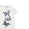 dettaglio maglia da bambina in cotone con farfalle a righe blu Giulia Mantelline