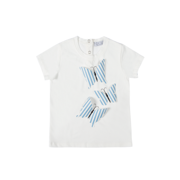 Maglietta a manica corta Alice in cotone con farfalle ricamate in 3 d a righe azzurrre Giulia Mantelline