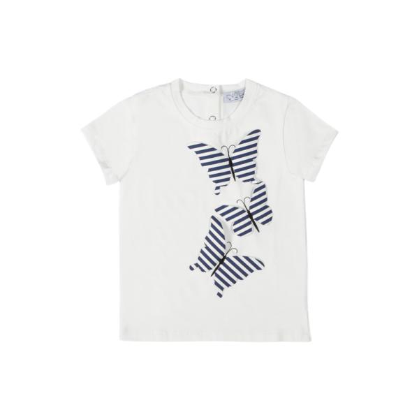 Maglietta da bambina Alice con farfalle a righe blu Giulia Mantelline