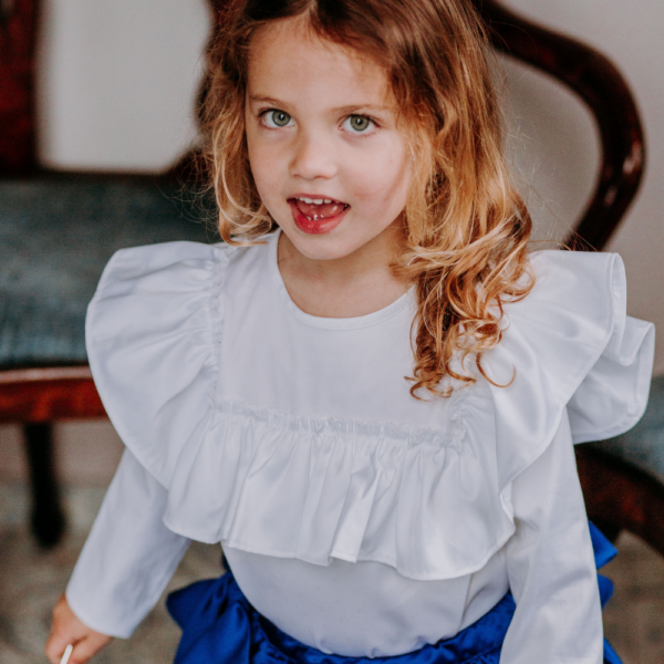 camicia body in cotone da bambina bianca