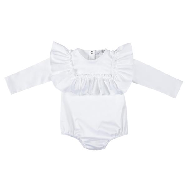 camicetta body bianco da bambina in cotone