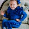 dettaglio pantalone bluette con balza laterale da bambina fino a 5 anni