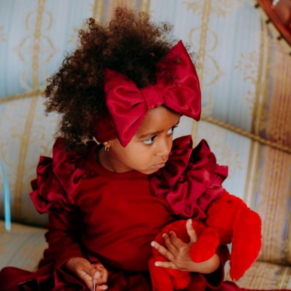 fascia fiocco in raso e cotone da bambina
