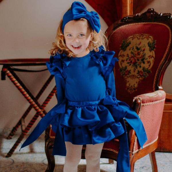 fascia fiocco in raso e cotone bluette da bambina